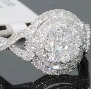 10k Solid White Gold NATURAL diamond ring.